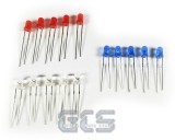 Blue, Red, White LEDs, 15 Pack