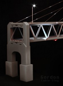 "30"" MLG N-Scale Double-Deck Suspension Bridge"